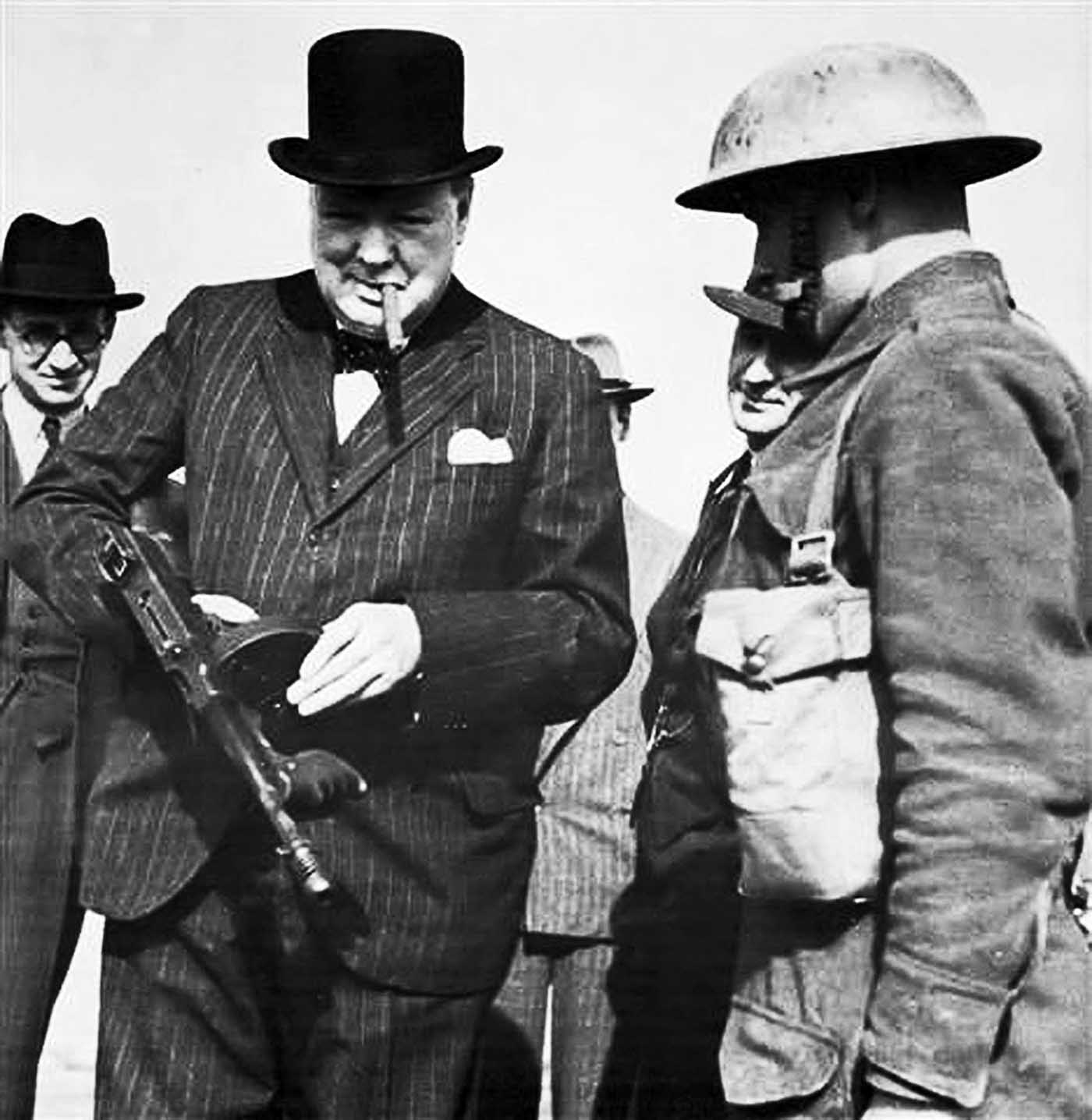 Winston Churchill with a Tommy Gun during an inspection near Hartlepool, 1940