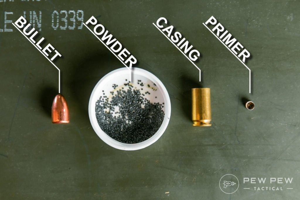 Deconstructed 9mm Cartridge