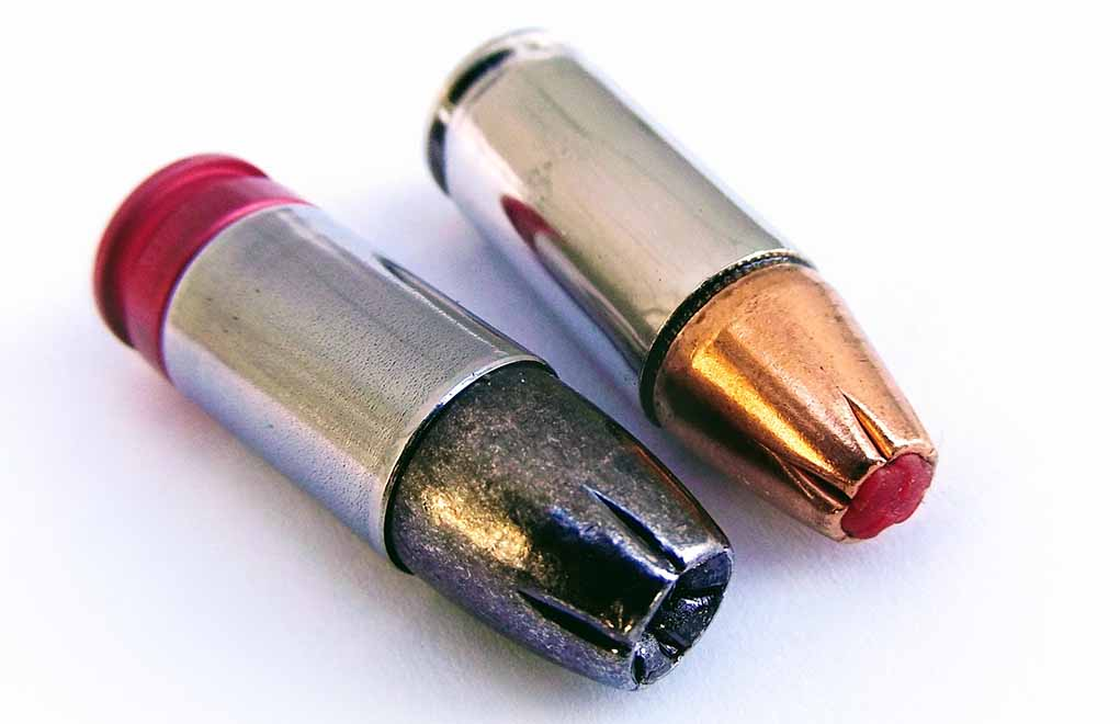 In terms of popularity, the 9mm is the foremost competitor of the .45 ACP. The Seismic 185-grain cartridge (left) offers the highest bullet weight for 9mm, as well as high sectional density. The Hornady 135-grain Critical Duty +P is a state-of-the-art 9mm load that's an example of why the 9mm is so good today.