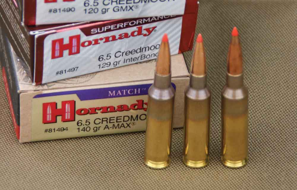 Three 6.5 Creedmoor factory loads from Hornaday (left to right) 120-, 129- and 140-grain bullets. Note the company does not polish out the discoloration from annealing.