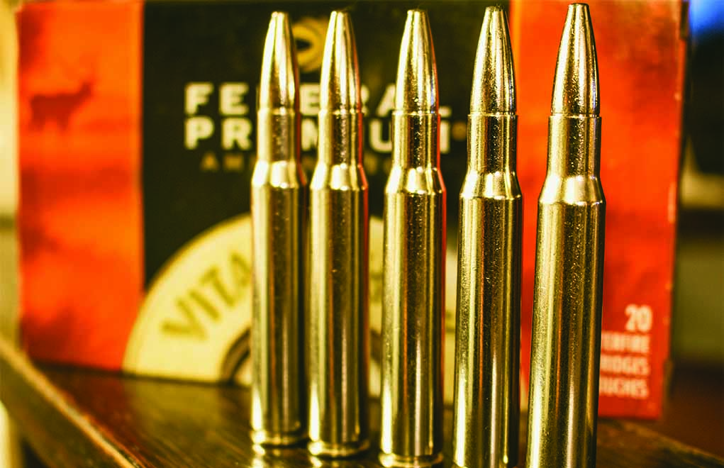 The .30-06 Springfield, shown here with the 200-grain Federal Trophy Bonded Bear Claw, might be one of the most common and versatile cartridges available.