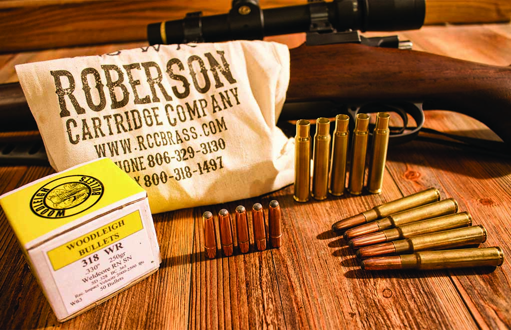 Author Massaro built a custom .318 Westley Richards (very popular a century ago), but the ammunition must be handloaded. Roberson Cartridge Company and Woodleigh Bullets offerings fit the bill.