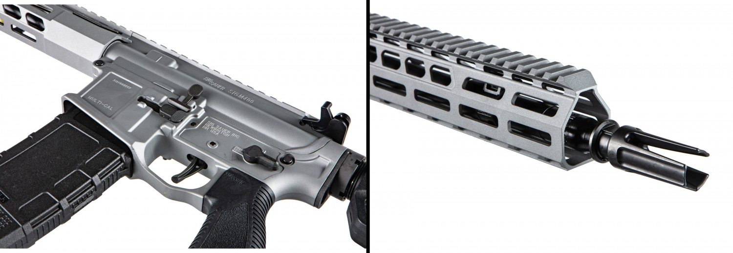The Switchblade is differentiated from other M400 models by its controls, handguard, muzzle device, and more.